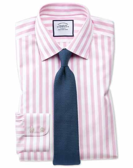 Chemise rose slim fit à rayures bengale sans repassage