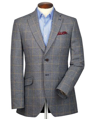 Slim fit blue and beige check British tweed jacket