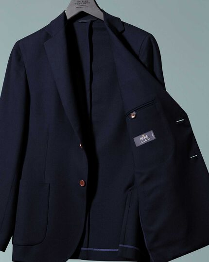 Slim fit navy Italian wool blazer