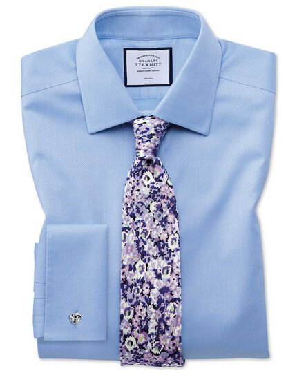 Slim fit non-iron sky blue triangle weave shirt