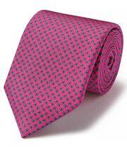 Cravate classique rose vif à petit motif cachemire