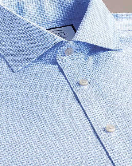 Extra slim fit non-iron cutaway collar sky blue puppytooth Oxford stretch shirt