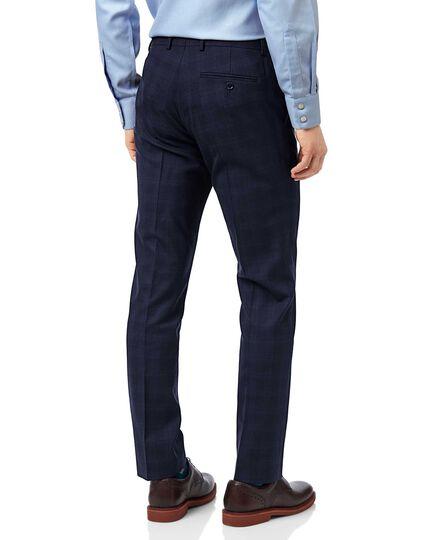 Midnight blue check slim fit suit trouser