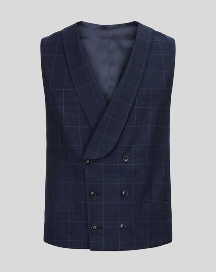 British Luxury Check Suit Waistcoat - Navy