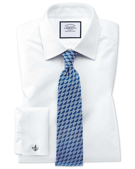 Classic fit Egyptian cotton trellis weave white shirt