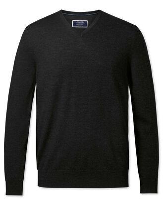 Dark charcoal merino v-neck jumper