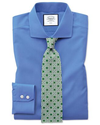Extra slim fit cutaway non-iron poplin blue shirt