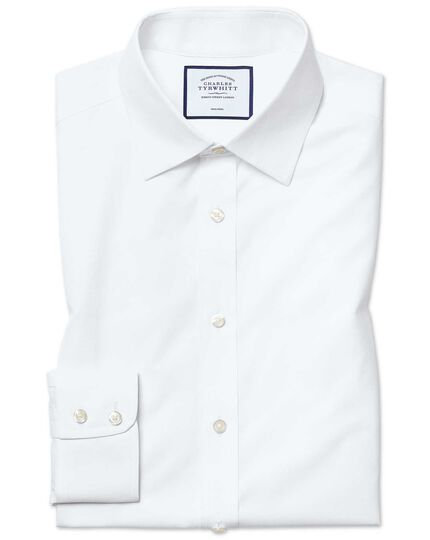 Slim fit white non-iron poplin shirt