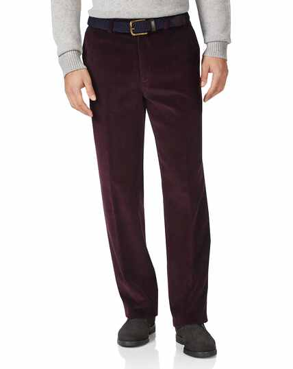 Wine classic fit jumbo corduroy trousers