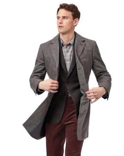 Brown herringbone British wool Epsom coat