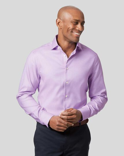 Smart Casual Collar Non-Iron Stretch Texture Shirt - Lilac