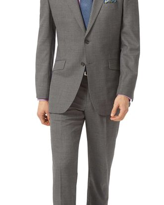 Grey classic fit jaspe business suit