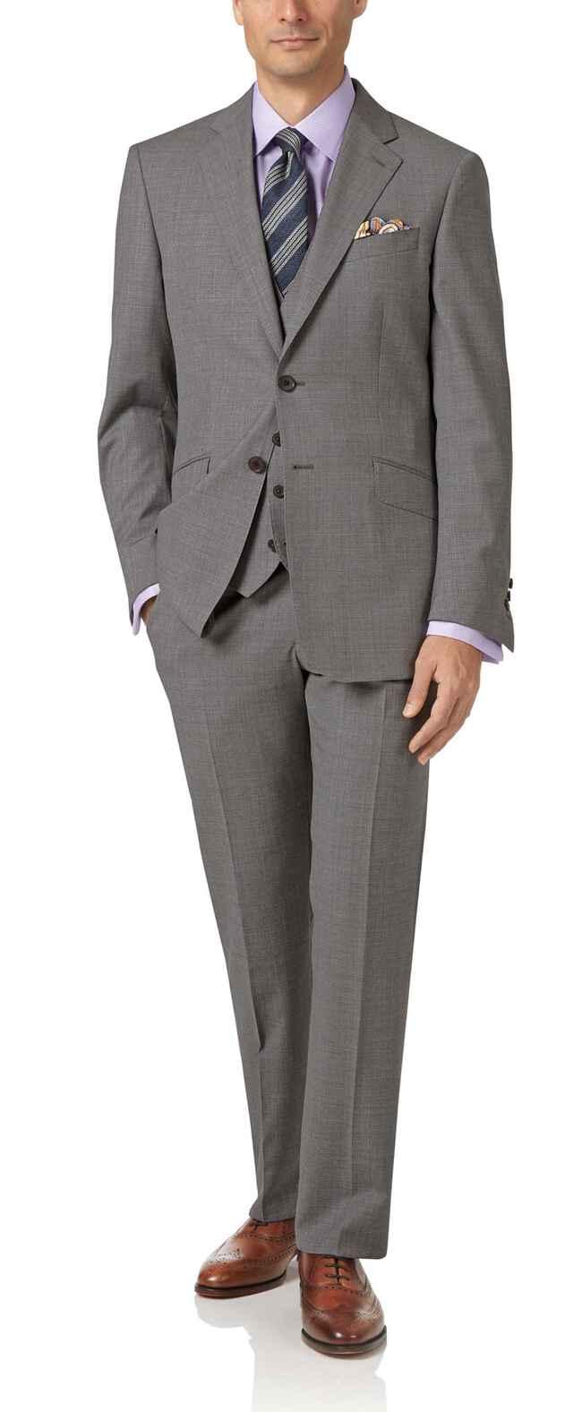 44082d90b706 Silver slim fit Italian cross hatch weave suit | Charles Tyrwhitt