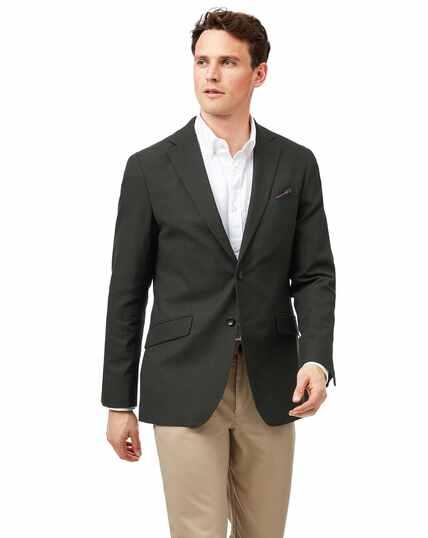 Veste en coton stretch texturé verte slim fit