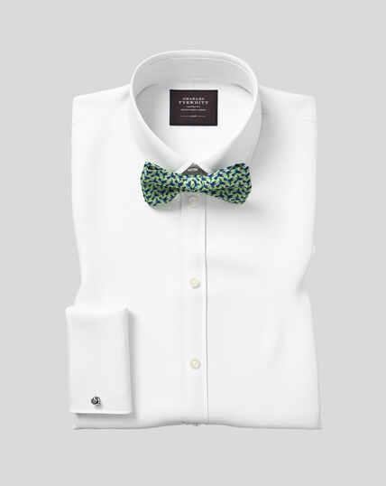 Gala-Hemd mit Kent-Kragen und Bieseneinsatz aus Marcella-Waffelmuster  - Weiß