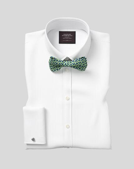 Classic Collar Marcella Bib Tuxedo Shirt  - White