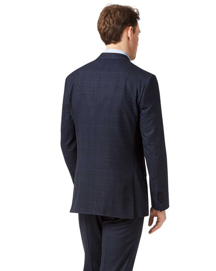 Blue slim fit jaspe check business suit jacket
