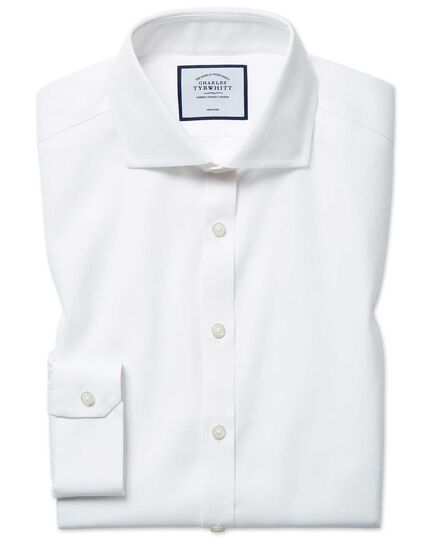 Super slim fit non-iron white Oxford stretch shirt