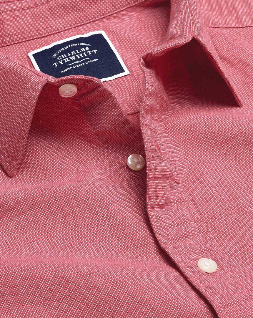 Cotton Linen Short Sleeve Shirt - Coral