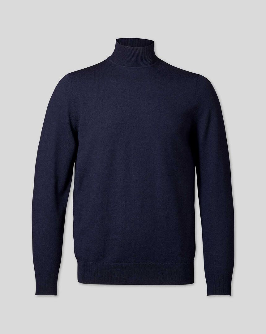 Merino Turtle Neck Jumper - Navy