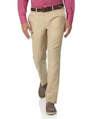 Stone slim fit cotton linen trousers