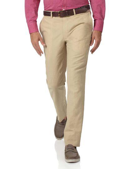 Pantalon beige en coton et lin slim fit