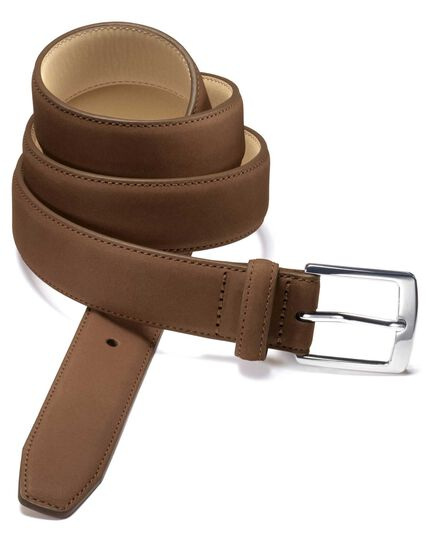 Tan nubuck leather belt