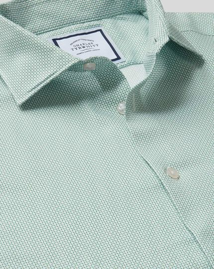 Business Casual Collar Non-Iron Geo Printed Shirt - Green