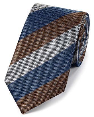 Cravate classique bleu marine et marron en soie et lin à rayures