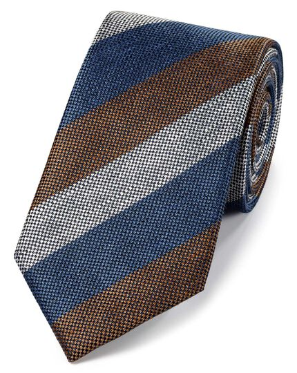 Navy and brown silk linen stripe classic tie