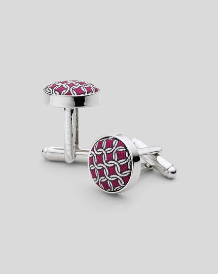 Silk Chain Print Round Cufflinks - Burgundy