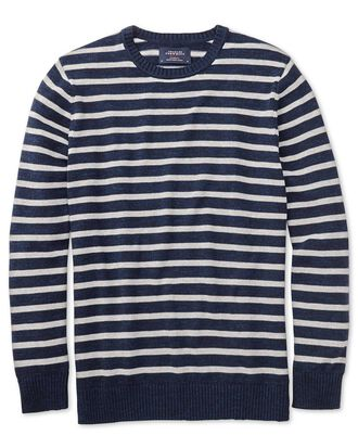 Pullover mit Rundhalsausschnitt in Marineblau und Graublau Meliert