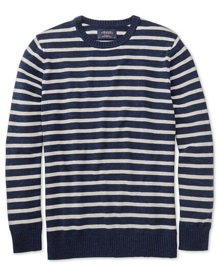 Navy and grey blue heather crew neck jumper