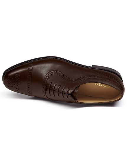Chocolate Goodyear welted Oxford brogue rubber sole shoe