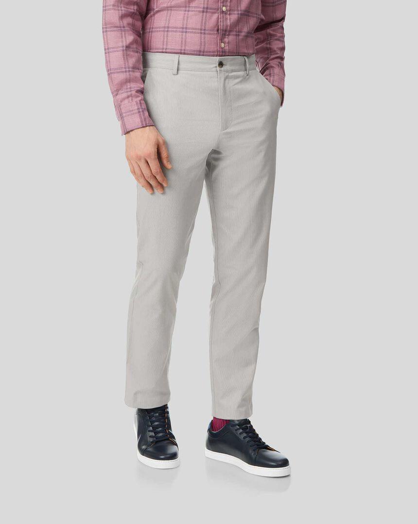 Fine Stripe Pants - Light Grey