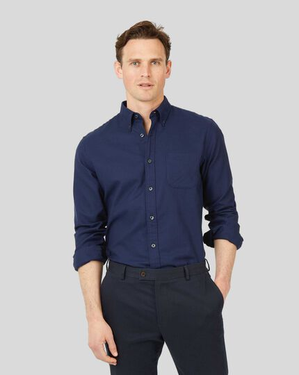 Button-Down Collar Non-Iron Twill Shirt - Dark Blue