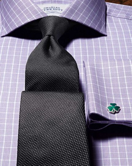 Charcoal silk plain classic tie