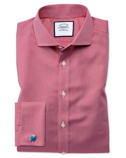 Bügelfreies Extra Slim Fit Hemd mit Haifischkragen und Hahnentrittmuster in kräftigem Rosa