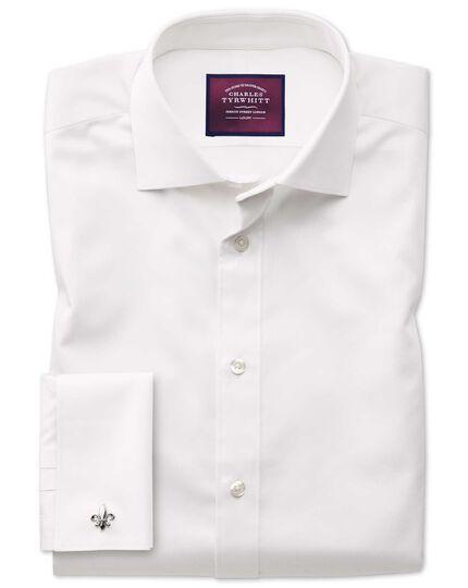 Classic fit semi-cutaway luxury cotton silk off-white shirt
