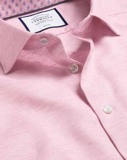 Smart Casual Collar Cotton Linen Shirt - Pink