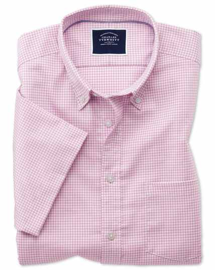 Slim fit pink short sleeve gingham soft washed non-iron stretch shirt