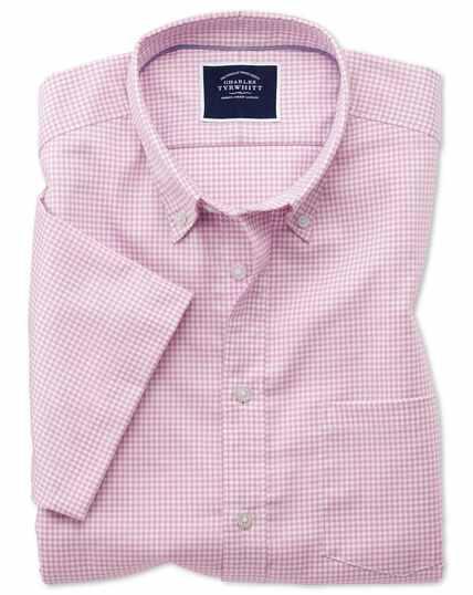 Chemise rose en tissu stretch slim fit à carreaux vichy et manches courtes à délavage doux sans repassage