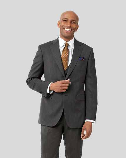 Stripe Birdseye Travel Suit Jacket - Grey