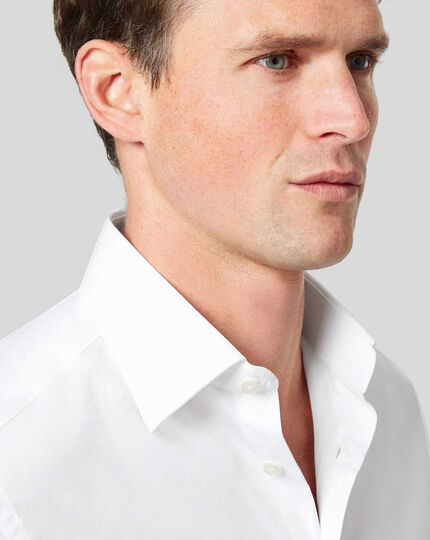 Classic Collar Egyptian Cotton Poplin Shirt - White