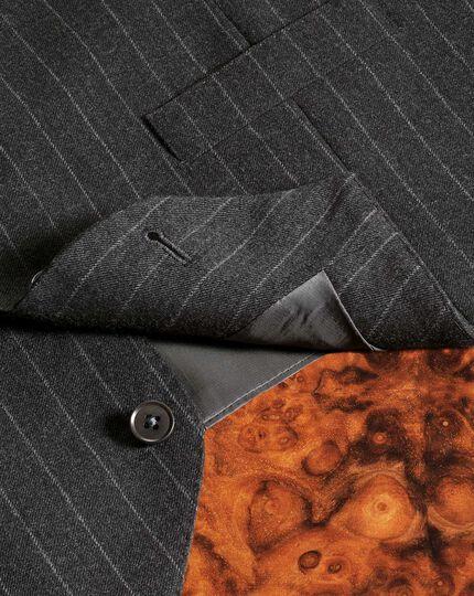 Gilet de costume business charcoal coupe ajustable en flanelle à rayures