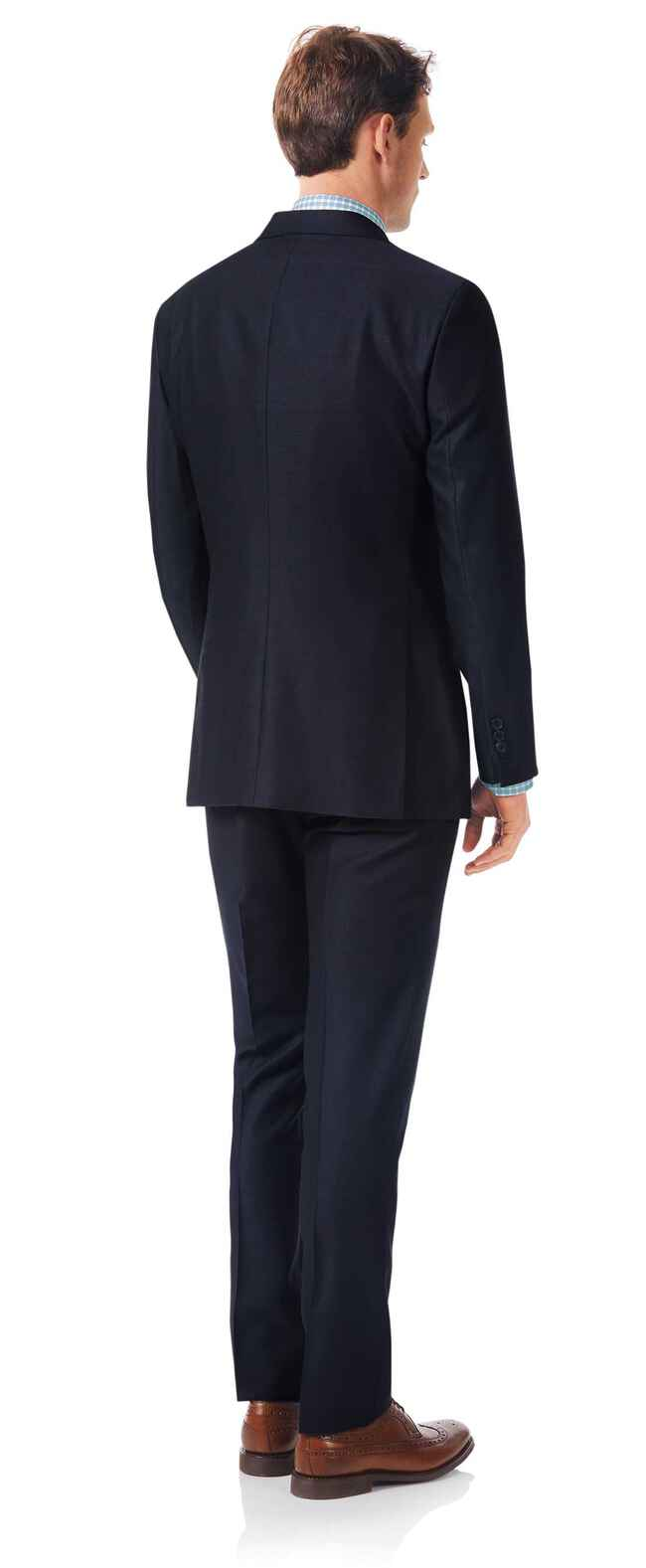 Italienischer Anzug Slim Fit Strukturgewebe Marineblau