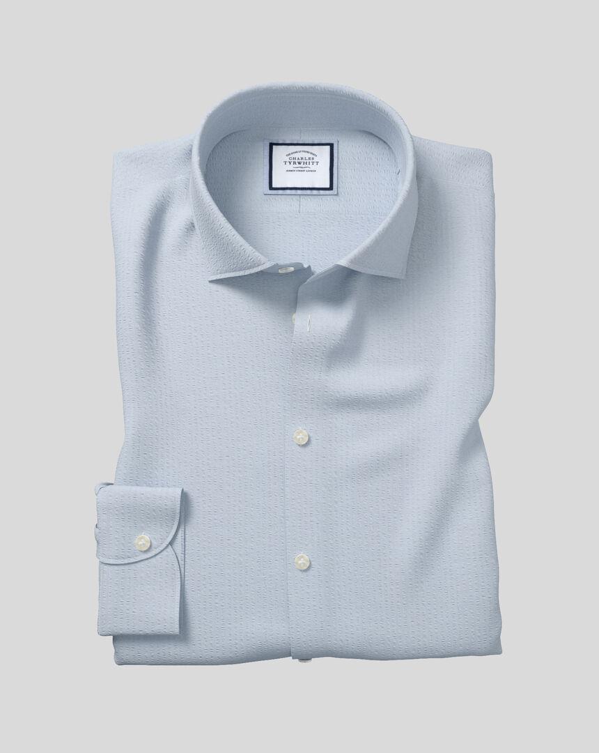 Business Casual Collar Cotton Seersucker With TENCEL™ Shirt - Sky