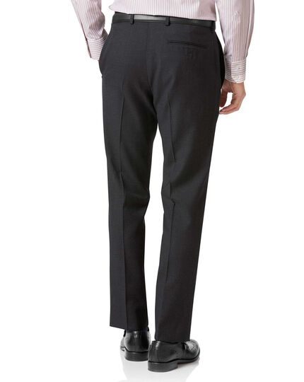 Charcoal slim fit twill business suit trousers