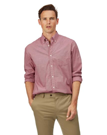 Chemise en popeline stretch soft washed rouge coupe droite