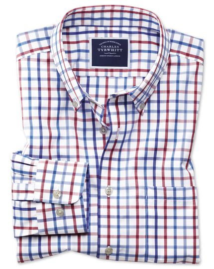 Slim fit button-down non-iron poplin red multi check shirt